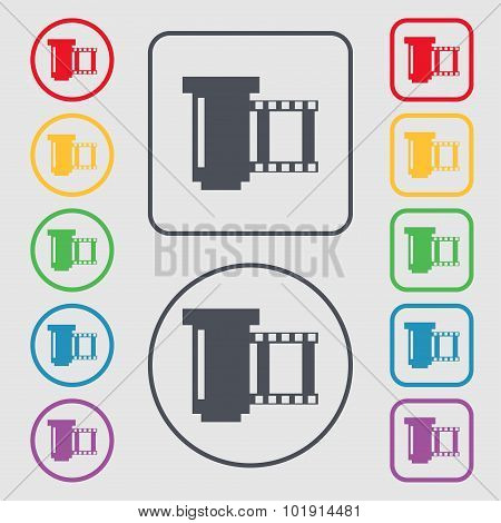 Negative Films Icon Symbol. Symbols On The Round And Square Buttons With Frame. Vector
