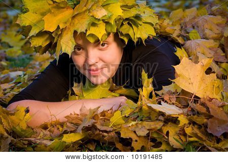 Girl In Wreath Of Leaves