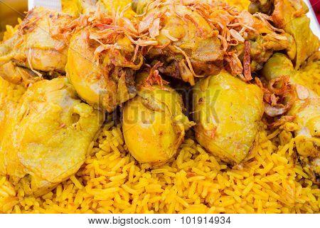 Close Up Chicken Biryani With Green Chutney In Thai Market