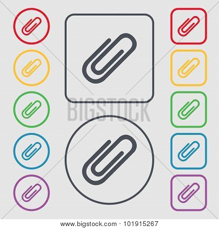 Paper Clip Sign Icon. Clip Symbol. Symbols On The Round And Square Buttons With Frame. Vector