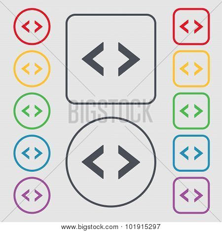 Code Sign Icon. Programmer Symbol. Symbols On The Round And Square Buttons With Frame. Vector