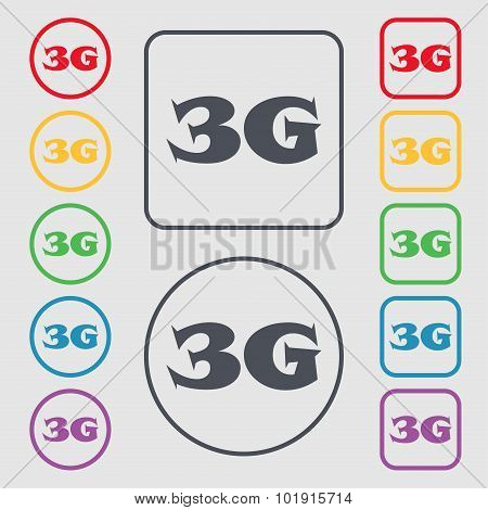 3G Sign Icon. Mobile Telecommunications Technology Symbol. Symbols On The Round And Square Buttons W