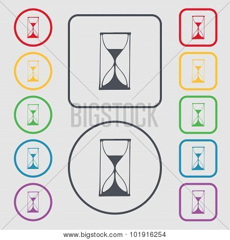 Hourglass Sign Icon. Sand Timer Symbol. Symbols On The Round And Square Buttons With Frame. Vector