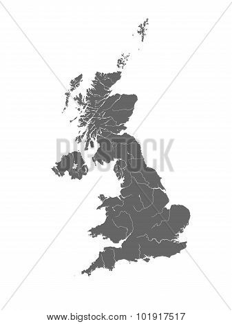 Map Of The United Kingdom With Rivers.