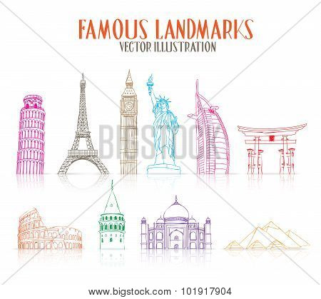 Set of Colorful Hand Drawn Famous and Popular Landmarks