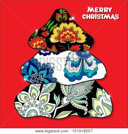 Stock Vector Decorative Isolated Christmas  Tree. Patchwork Design