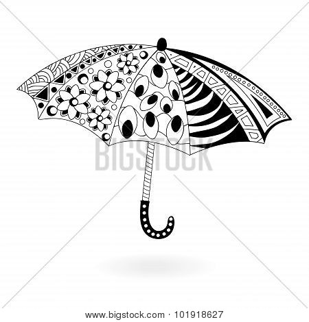 Stock Vector Single Umbrella. Doodle Design