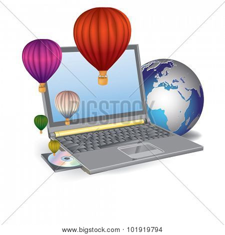 Vector Illustration Hot air balloons take off from the screen of laptop.