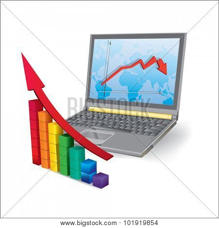 3d laptop with chart on a background of illustration business diagram