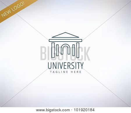 University vector logo icon. Education, students or school and college symbol. Stock design element.