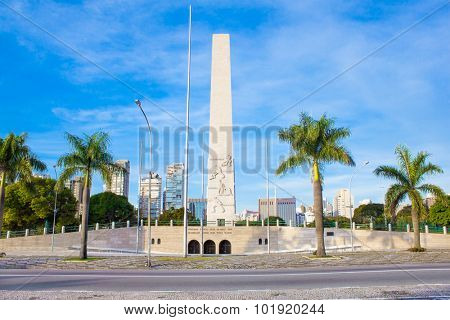 SAO PAULO, BRAZIL - APRIL 20, 2015: Obelisk of Sao Paulo in Ibirapuera Park on April 20, 2015, Brazil. This monument is a symbol of the Constitutionalist Revolution of 1932.