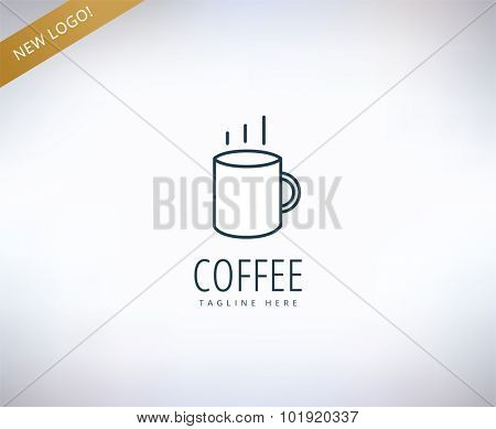 Coffee vector logo icon. Coffee, drink or restaurant and cup symbol. Stock design element.