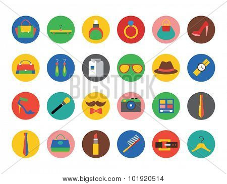 Fashion vector logo icons set. Style, dress and shop symbol. Stocks design element.