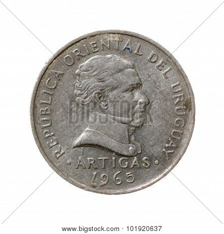 Coin. Fifty  Centimes Republic Of Uruguay Isolated On A White Background. Top View