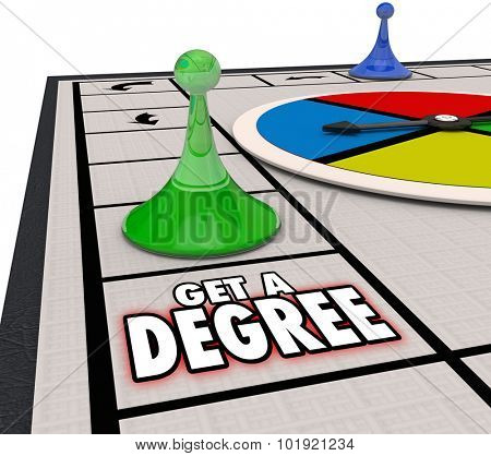 Get Degree board game moving forward to advance in a job or career through education or training and be promoted to a higher position