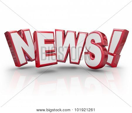 News word in red 3d letters to illustrate an article, report, journalizm, gossip, buzz, trend, rumor or information in communication