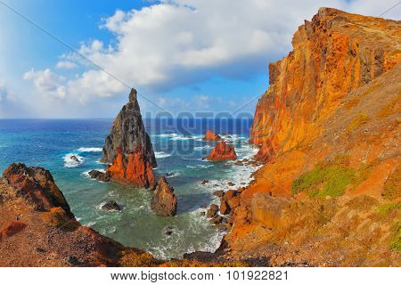 Pinnacles covered sunset. Eastern extremity of the island of Madeira in the Atlantic Ocean