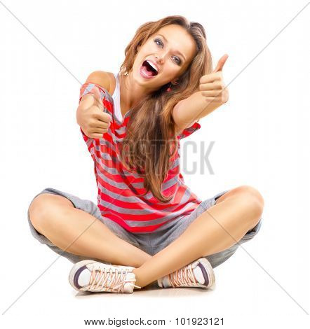 Happy Teen Girl showing Thumbs up isolated one white. Happy Teenager Model Girl Portrait