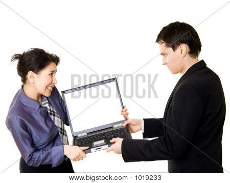Fighting For A Laptop