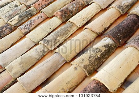 Old roof tiles background in a spanish village, Spain.