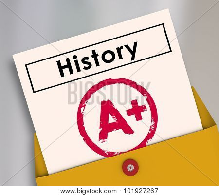 History report card opening from a yellow envelope to illsutrate a student has passed the class or course with an A plus score or grade
