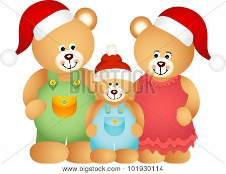 Christmas Teddy Bear Family