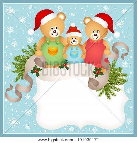 Christmas card with teddy bear family
