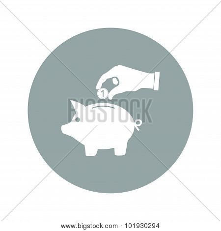 Piggy Bank And Hand With Coin Black Icon.vector Illustration,