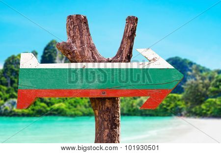 Bulgaria Flag wooden sign with beach background