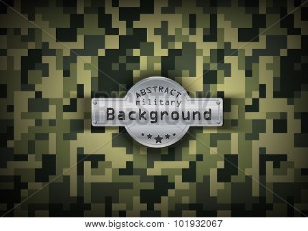 Camouflage military pixel art pattern background. Vector illustration, EPS10