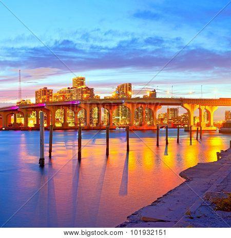 Miami Florida at sunset