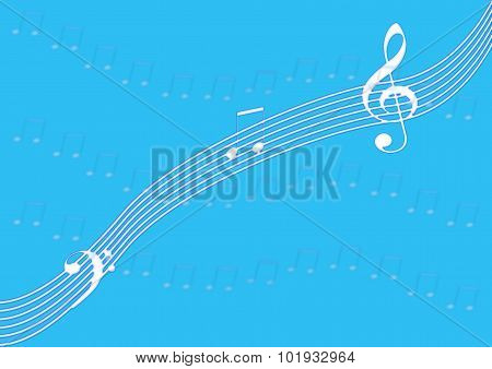 Music Notation On Blue
