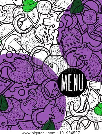 Design menu background doodle of pizza with ingredients