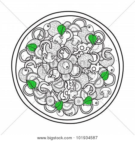 Isolated doodle monochrome pizza with basil on white background