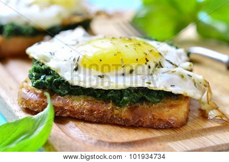 Toast With Spinach And Fried Egg.