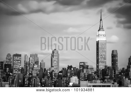 Empire State Building In Manhattan Bw