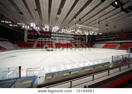 "Stadium On  Hockey Match ""spartak""-""severstal"" On Ice Field In Sports Palace"