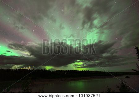 Willow Lake Northern Lights Aurora Borealis Alaska Night Sky