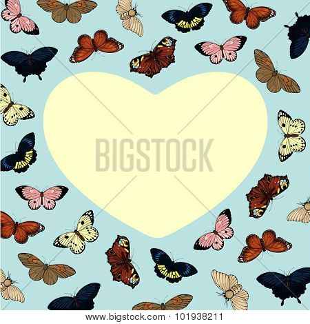 Beautiful card with cute colorful butterflies and heart-shaped place for your text or photo