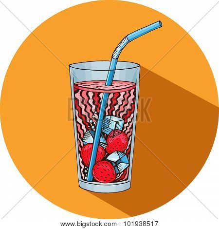 Vector Refreshing Drink Icon, Hand Drawn Graphic Healthy Drink, Refreshing Drink, Smoothie,