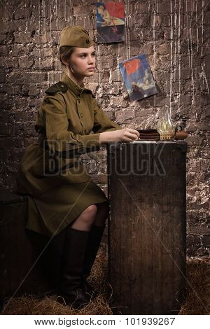 Soviet Female Soldier In Uniform Of World War Ii Writes A Letter