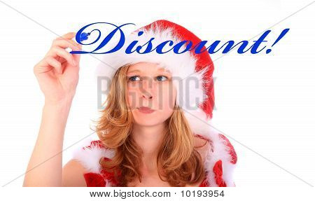 Miss Santa Is Writing With A Blue Marker Pen - Discount!
