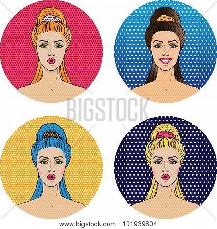 Pop Art Women Avatar Icons In Comics Style, Four Trendy Girls Blonde, Redhead, Brunette