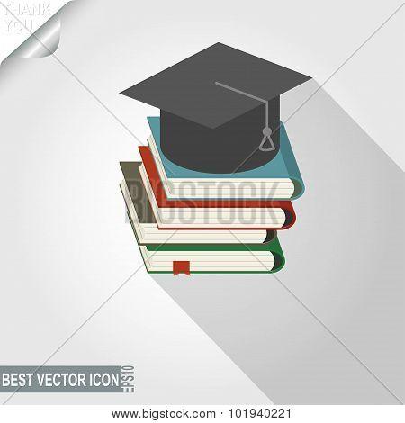 Graduation cap over the book stack vector icon