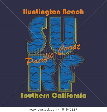 Surfing t-shirt graphic design. Huntington Beach - vector