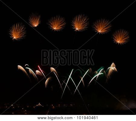 Big colorful fireworks explode in Malta.Malta fireworks festival, 4 July, Independence, fireworks