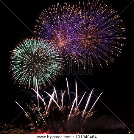 Colourful fireworks explosion in Zurrieq, Malta. Fest St.Catharina in Malta. Victory day.
