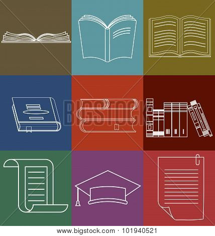 Book Icons Set, Document and Paper signs - Vector illustration l