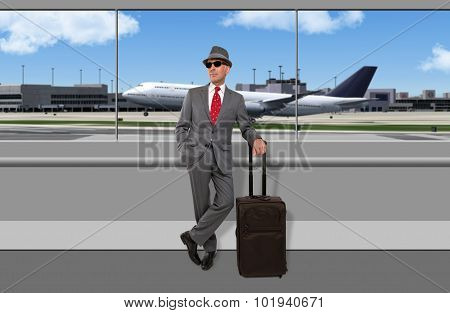 Business traveler waiting at airport