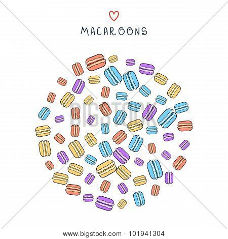 Background of scattered colored doodle macaroon for design